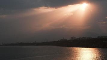 Gorgeous Sunbeams at The Sunset at Antalya Turkey video