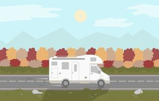 A camper or a caravan is driving on a motorway on autumn background. vector