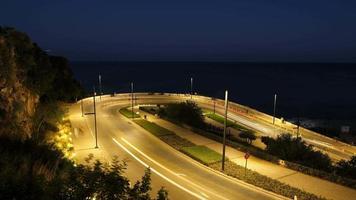 Long exposure night time lapse at Antalya Konyaalti Turkey video