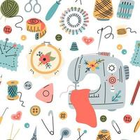 Seamless vector pattern of elements for sewing, embroidery