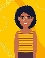 beautiful woman afro with glasses avatar character icon vector