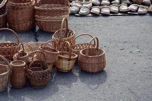 Wicker baskets of various shapes and sizes photo