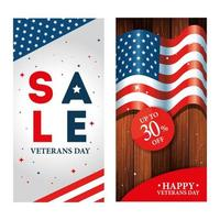 set of poster veterans day with promotion and decoration vector