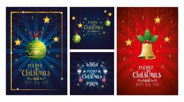 set poster of merry christmas and happy new year with decoration vector