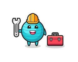 Mascot cartoon of exercise ball as a mechanic vector
