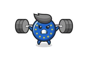 Dibujos animados de la mascota de la insignia de la bandera de Europa con una barra vector