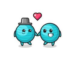 exercise ball cartoon character couple with fall in love gesture vector
