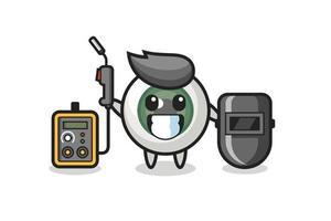 Character mascot of eyeball as a welder vector