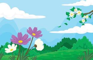 Summer Flower Scenery Against the Blue Sky vector
