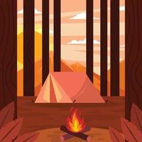 Bonfire Sunset on Camp Ground vector