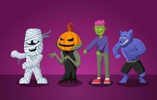 conjunto de personajes de monstruos de halloween vector