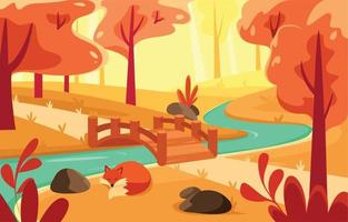 Sleepy Fox in the Middle of Autumn Forest vector