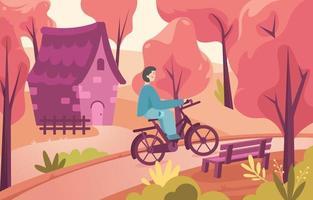 Boy Rides a Bike in Autumn Forest vector