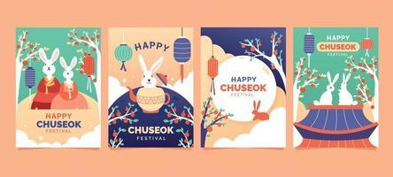 Cute Bunny Celebrating Chuseok vector