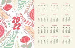 Printable Calendar 2022 Floral Pastel vector