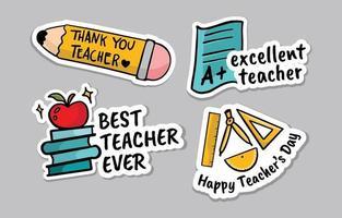 Happy Teacher Day Sticker vector