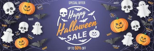 Happy Halloween Sale Banner. Paper cut style. Vector illusration
