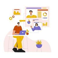 bussiness online meeting flat illustration vector