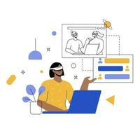 meeting with VR flat illustration vector