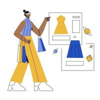 shopping with vr flat illustration vector