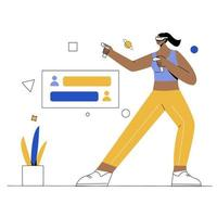 fitness with VR flat illustration vector