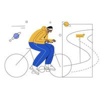 bicycle with VR flat illustration vector