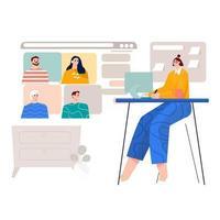 meeting online ver flat illustration vector