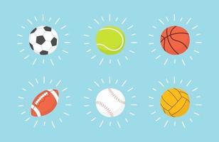 football, basketball, baseball, tennis, volleyball, water polo ball. vector