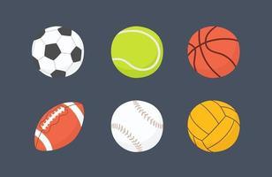 Football, basketball, baseball, tennis, volleyball, water polo balls. vector