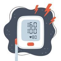 Medical tonometer and high blood pressure. Risk of hypertension. vector