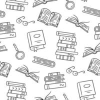 Seamless pattern with paper books. Home library, book stacks, glasses vector