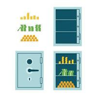 Closed bank safe, open empty safe and cabinet with money and gold bars vector