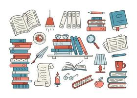 Stacks of paper books, home library, bookshelf in doodle style. vector