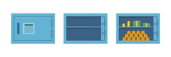 Closed safe, open empty safe and cabinet with money and gold bars. vector
