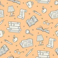 Library seamless pattern. Paper books, newspaper, glasses, vector