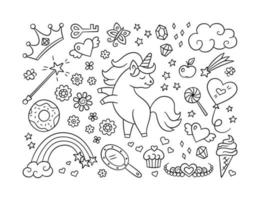 Cute unicorn and set of magic objects. Shooting star, rainbow, tiara vector