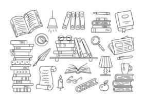 Stacks of paper books, home library, bookshelf in doodle style vector