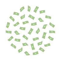 Money cloud in circle shape. Falling dollar banknotes vector