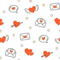 Valentines Day. Seamless pattern with hearts. Vector illustration