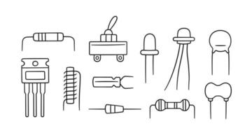Electrical components. Set of diode, resistor, inductor vector