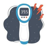 Non-contact infrared electronic thermometer with high temperature. vector