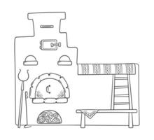 Hand drawn traditional Russian stove with grip, pots, poker vector