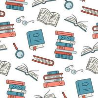 Seamless pattern with paper books. Home library, book stacks vector