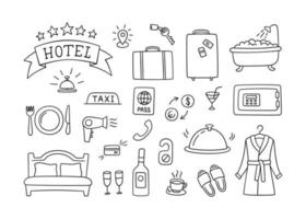 Hotel services hand drawn objects. Vector illustration