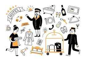 Hotel services and hotel staff. Hand drawn objects vector