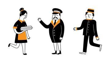 Hotel staff. Maid, bellboy and porter. Hand drawn vector illustration