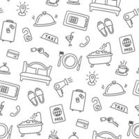 Hotel services hand drawn pattern. Vector illustration