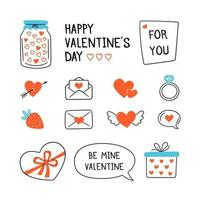 Valentines Day design set with hand drawn elements vector