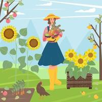Flat People in village. Woman with basket vegetables in hands. Vector