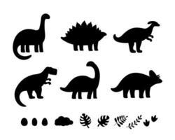 black dinosaur silhouettes for kids vector